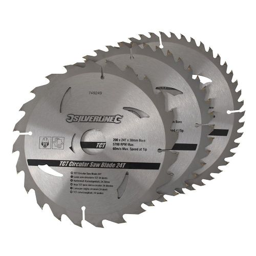 3 Pack Silverline 749249 TCT Circular Saw Blades 24, 40, 48 Teeth 200mm x 30mm